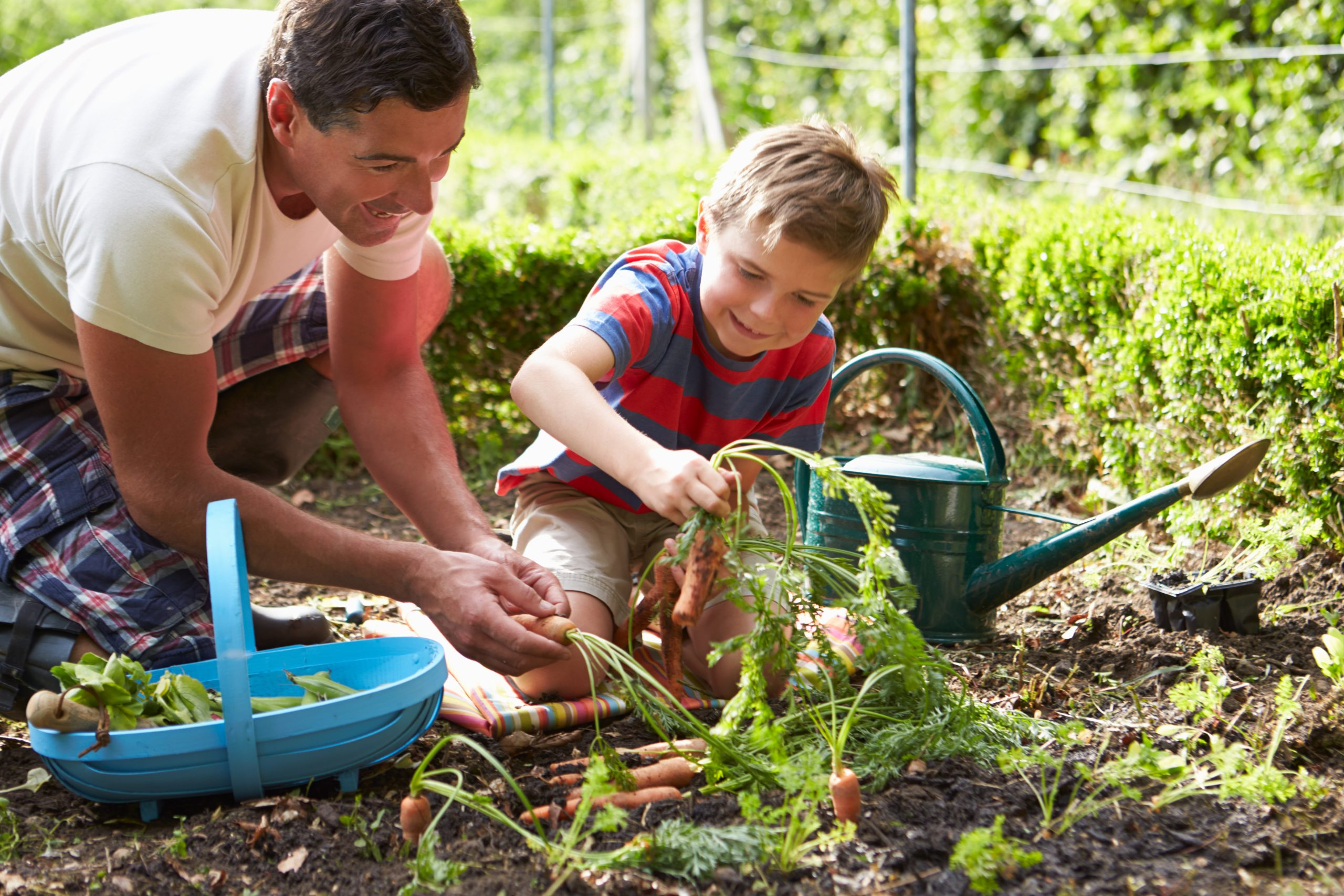 Son and Father in Garden